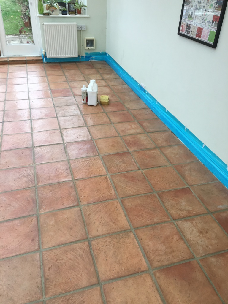 Terracotta conservatory and kitchen floors renovated in brighton terracotta floor before cleaning brighton dailygadgetfo Image collections