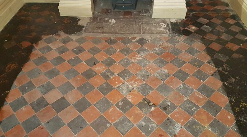Painted Quarry Tiled Floor Restored In Whaley Bridge Derbyshire