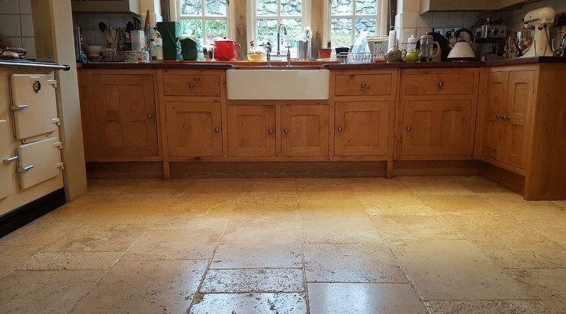 Travertine Tiled Kitchen Floor Renovated in Parwich ...