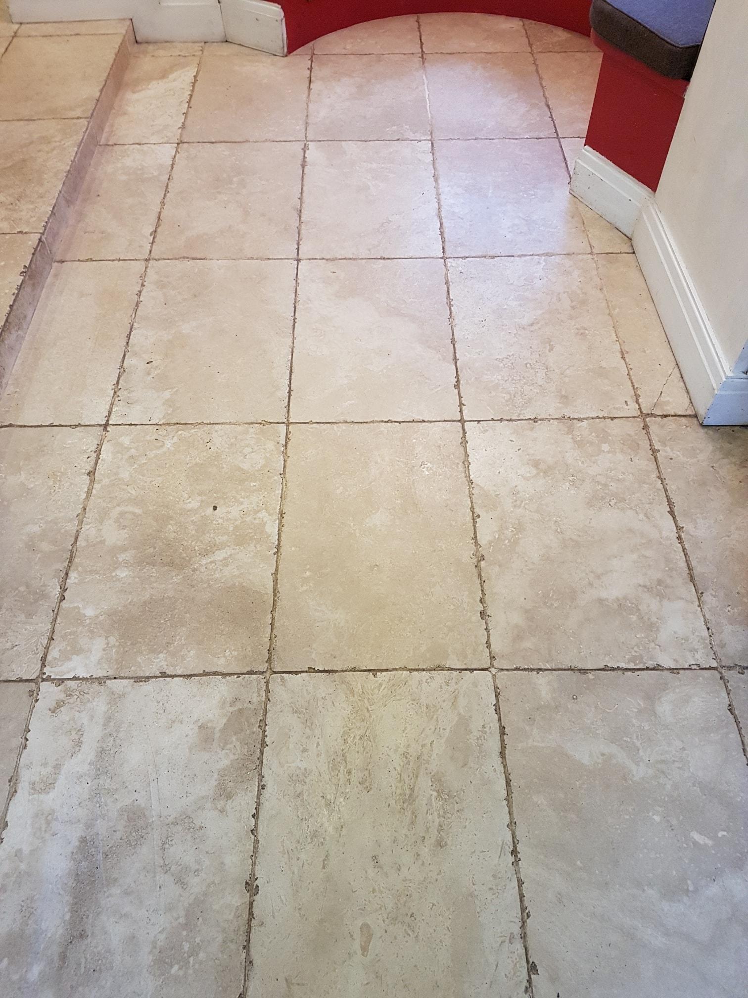 Renovating Grade A Tumbled Travertine Tiles In Ripon